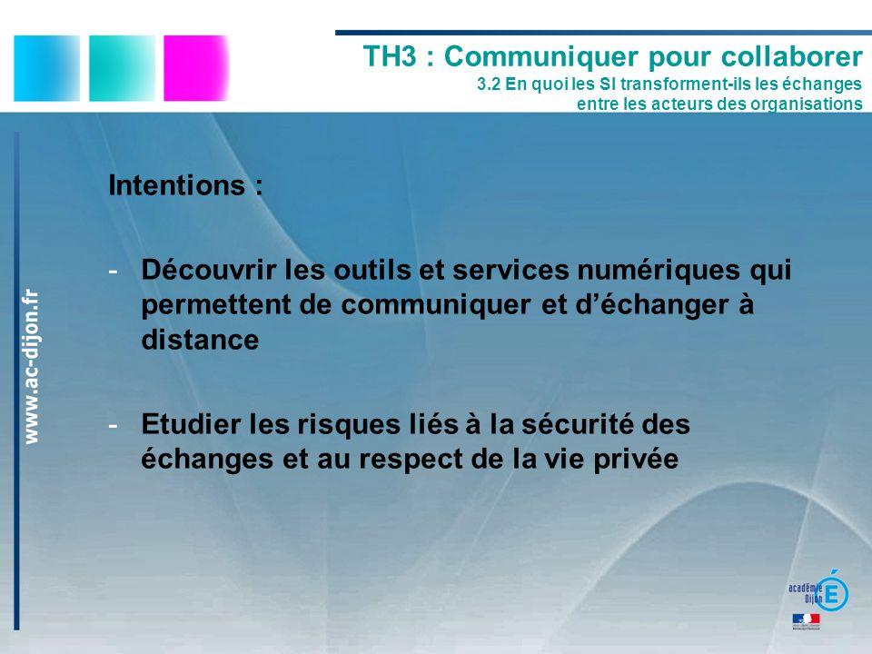 TH3 : Communiquer pour collaborer 3.2 En quoi les SI transforment-ils les échanges entre les acteurs des organisations Intentions : -Découvrir les out