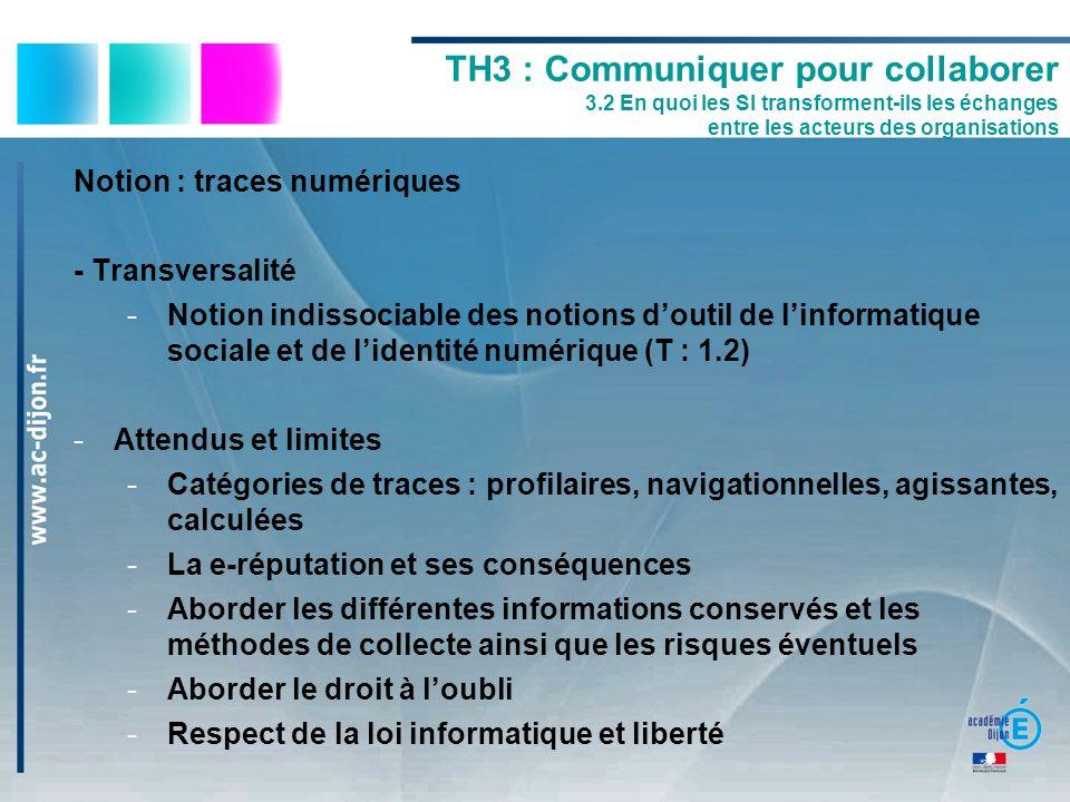 Notion : traces numériques - Transversalité -Notion indissociable des notions doutil de linformatique sociale et de lidentité numérique (T : 1.2) -Att
