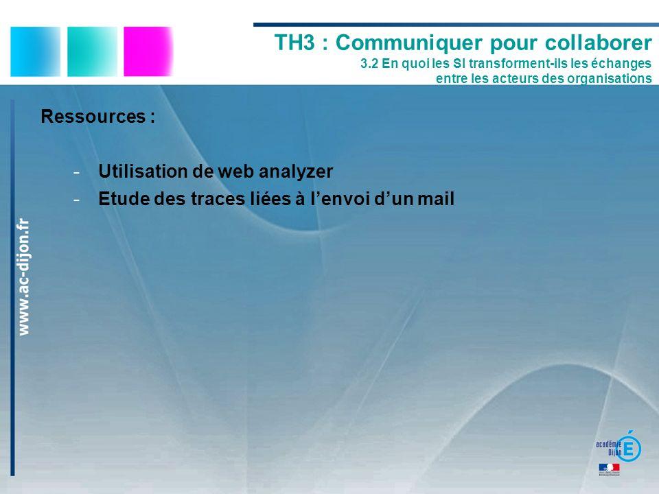 Ressources : -Utilisation de web analyzer -Etude des traces liées à lenvoi dun mail TH3 : Communiquer pour collaborer 3.2 En quoi les SI transforment-