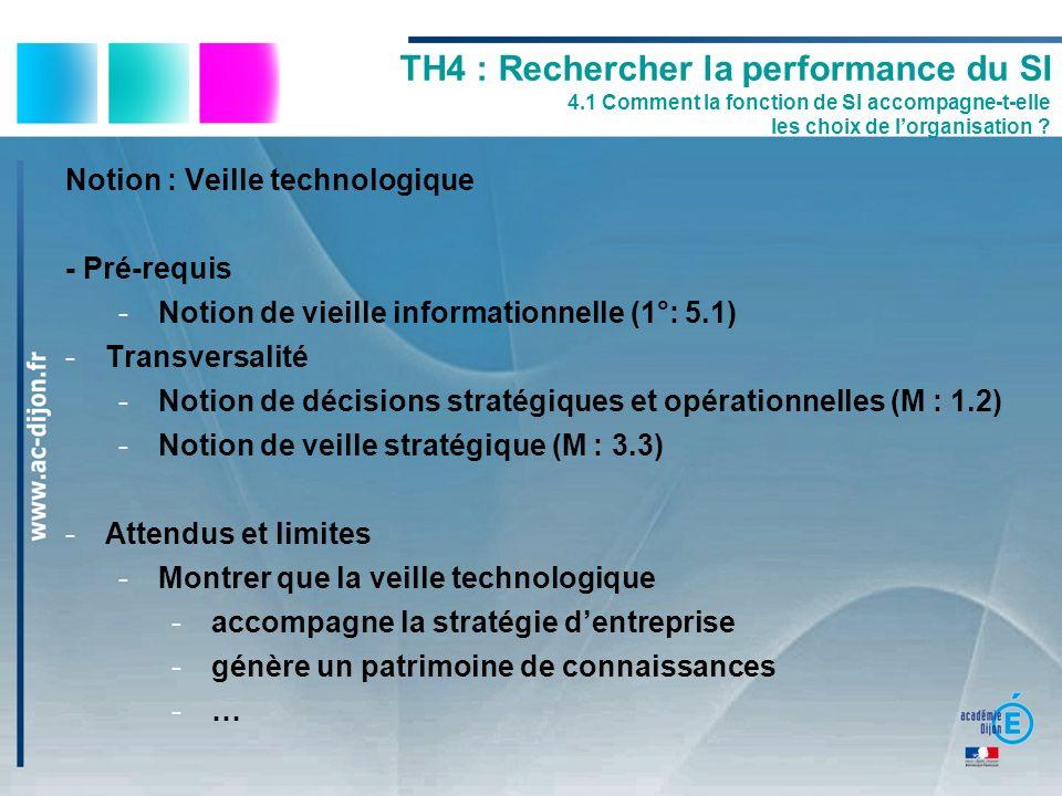 Notion : Veille technologique - Pré-requis -Notion de vieille informationnelle (1°: 5.1) -Transversalité -Notion de décisions stratégiques et opératio