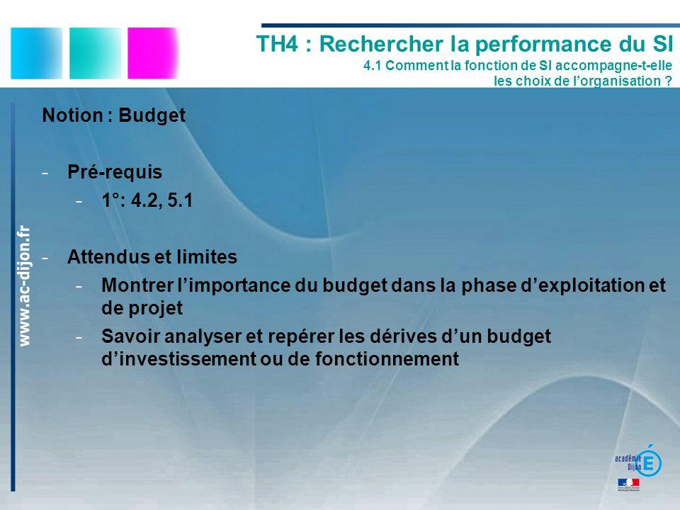 Notion : Budget -Pré-requis -1°: 4.2, 5.1 -Attendus et limites -Montrer limportance du budget dans la phase dexploitation et de projet -Savoir analyse