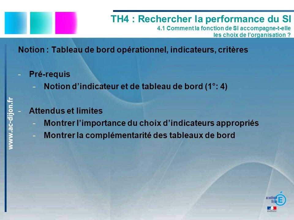 Notion : Tableau de bord opérationnel, indicateurs, critères -Pré-requis -Notion dindicateur et de tableau de bord (1°: 4) -Attendus et limites -Montr