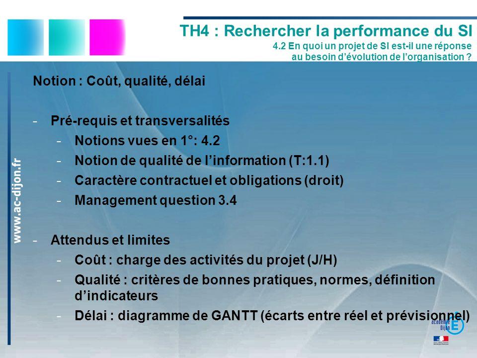 Notion : Coût, qualité, délai -Pré-requis et transversalités -Notions vues en 1°: 4.2 -Notion de qualité de linformation (T:1.1) -Caractère contractue