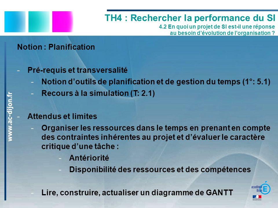 Notion : Planification -Pré-requis et transversalité -Notion doutils de planification et de gestion du temps (1°: 5.1) -Recours à la simulation (T: 2.