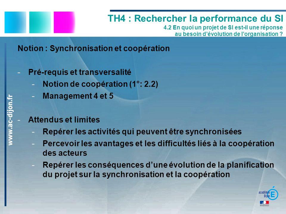 Notion : Synchronisation et coopération -Pré-requis et transversalité -Notion de coopération (1°: 2.2) -Management 4 et 5 -Attendus et limites -Repére