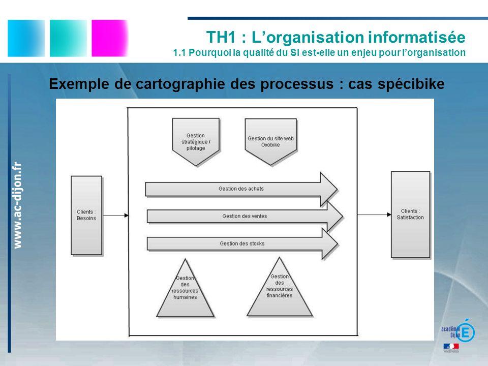 TH1 : Lorganisation informatisée 1.1 Pourquoi la qualité du SI est-elle un enjeu pour lorganisation Exemple de cartographie des processus : cas spécib