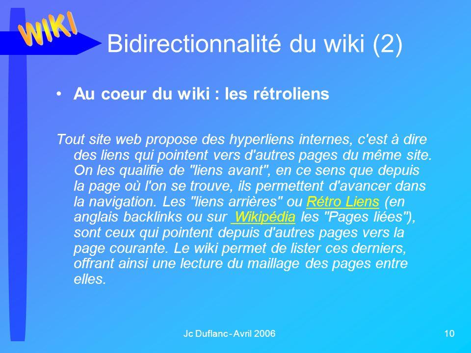 Jc Duflanc - Avril 2006 10 Au coeur du wiki : les rétroliens Tout site web propose des hyperliens internes, c'est à dire des liens qui pointent vers d