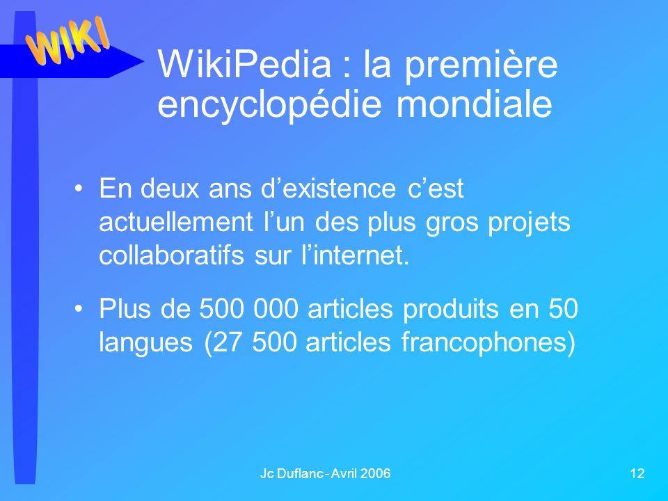 Jc Duflanc - Avril 2006 12 WikiPedia : la première encyclopédie mondiale En deux ans dexistence cest actuellement lun des plus gros projets collaboratifs sur linternet.