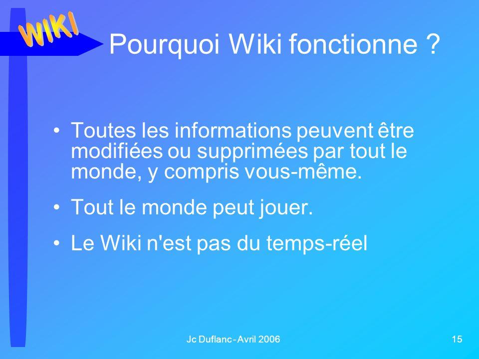 Jc Duflanc - Avril 2006 15 Pourquoi Wiki fonctionne ? Toutes les informations peuvent être modifiées ou supprimées par tout le monde, y compris vous-m