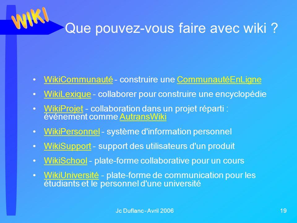 Jc Duflanc - Avril 2006 19 Que pouvez-vous faire avec wiki ? WikiCommunauté - construire une CommunautéEnLigneWikiCommunautéCommunautéEnLigne WikiLexi