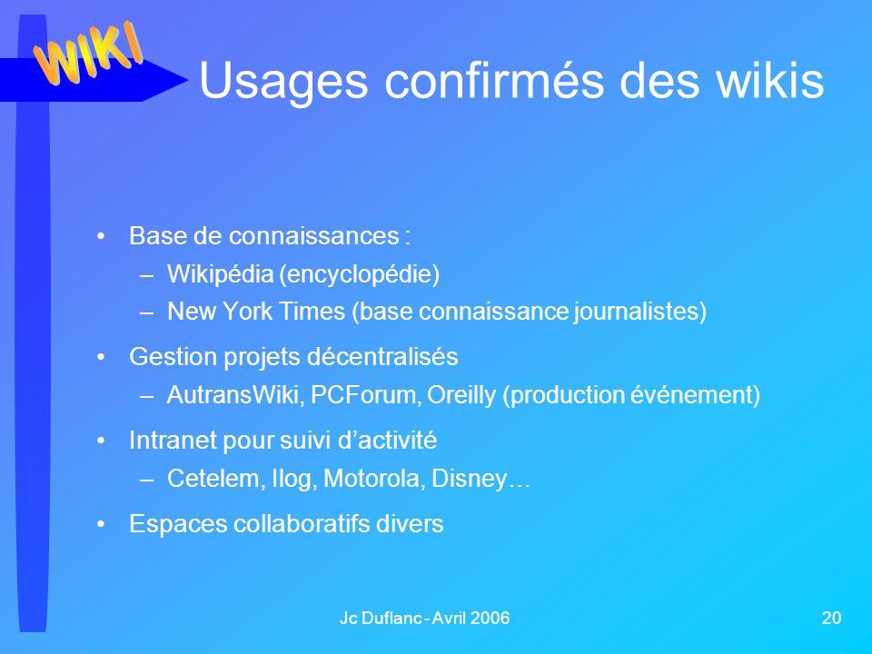 Jc Duflanc - Avril 2006 20 Usages confirmés des wikis Base de connaissances : –Wikipédia (encyclopédie) –New York Times (base connaissance journaliste