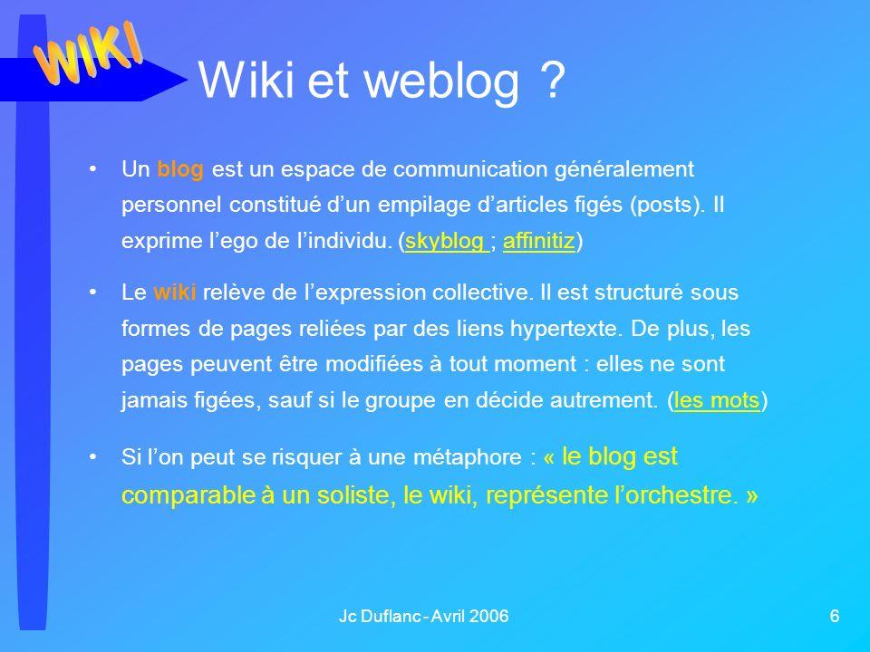 Jc Duflanc - Avril 2006 6 Wiki et weblog ? Un blog est un espace de communication généralement personnel constitué dun empilage darticles figés (posts