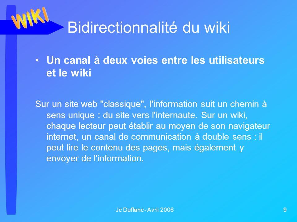 Jc Duflanc - Avril 2006 9 Un canal à deux voies entre les utilisateurs et le wiki Sur un site web classique , l information suit un chemin à sens unique : du site vers l internaute.
