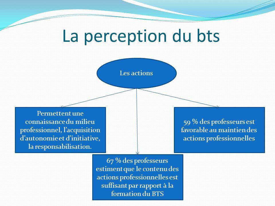 La perception du bts Les actions 59 % des professeurs est favorable au maintien des actions professionnelles Permettent une connaissance du milieu professionnel, lacquisition dautonomie et dinitiative, la responsabilisation.