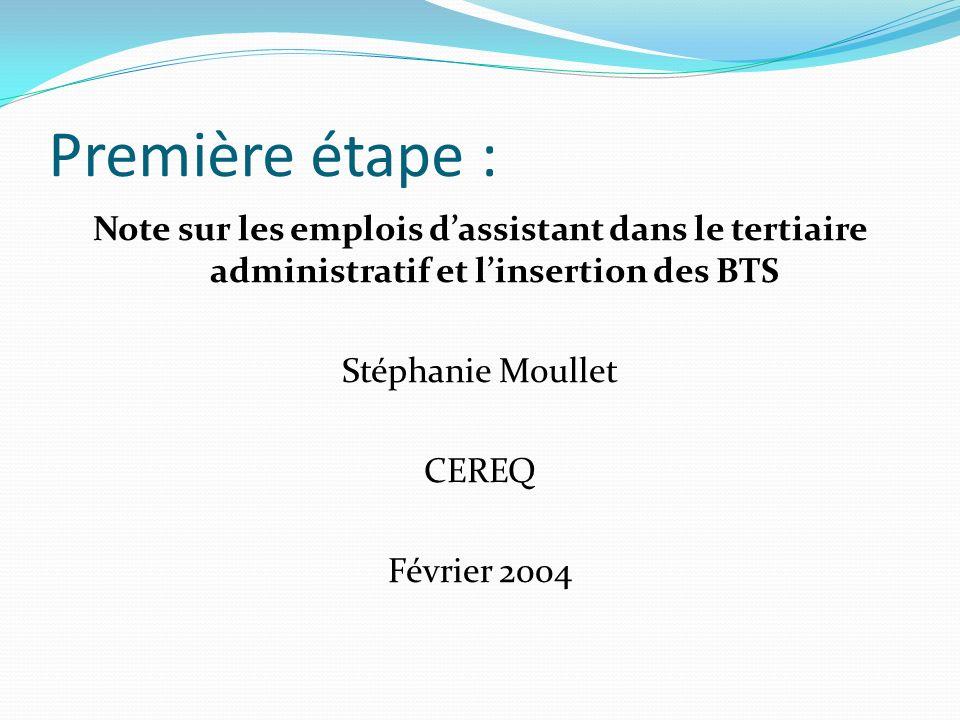 Première étape : Note sur les emplois dassistant dans le tertiaire administratif et linsertion des BTS Stéphanie Moullet CEREQ Février 2004