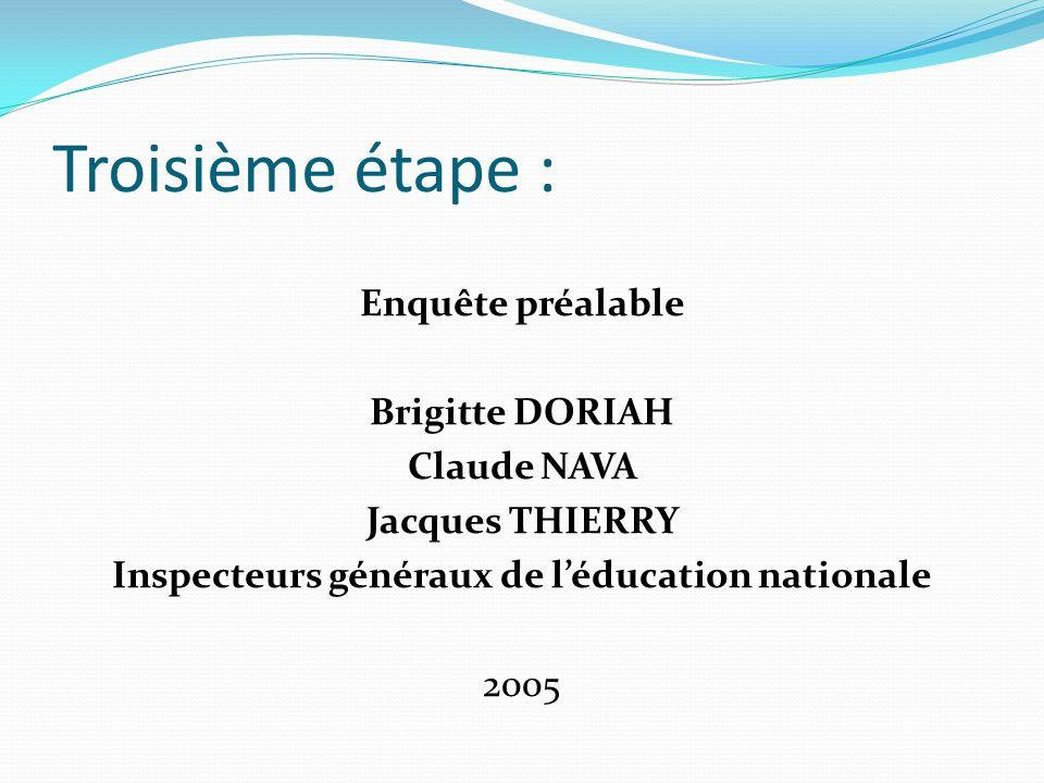 Troisième étape : Enquête préalable Brigitte DORIAH Claude NAVA Jacques THIERRY Inspecteurs généraux de léducation nationale 2005