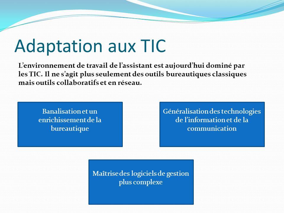 Adaptation aux TIC Lenvironnement de travail de lassistant est aujourdhui dominé par les TIC.