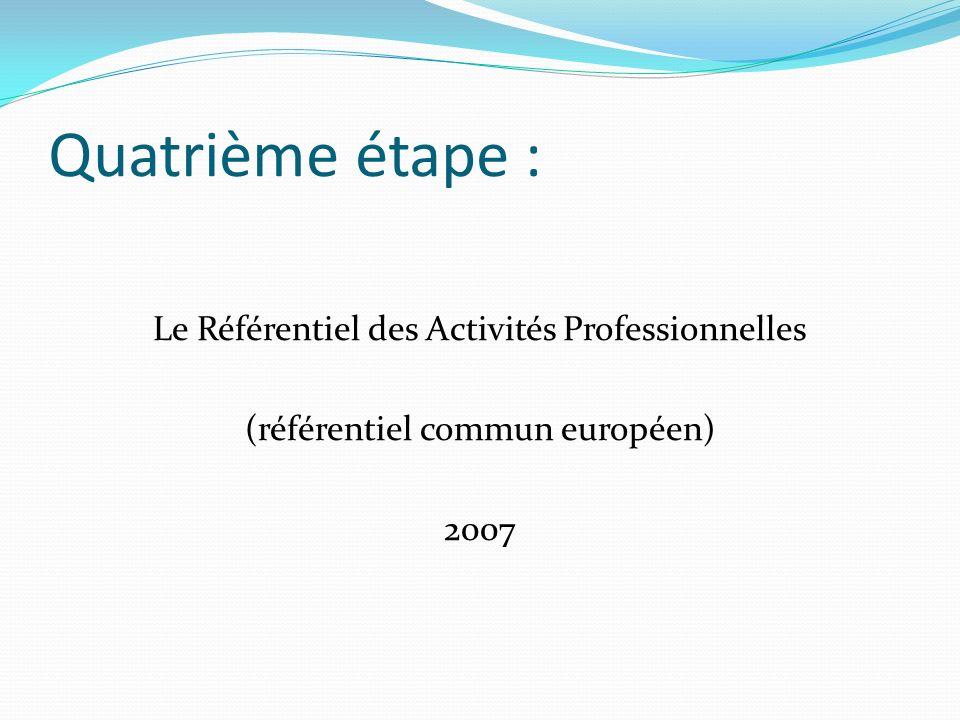 Quatrième étape : Le Référentiel des Activités Professionnelles (référentiel commun européen) 2007