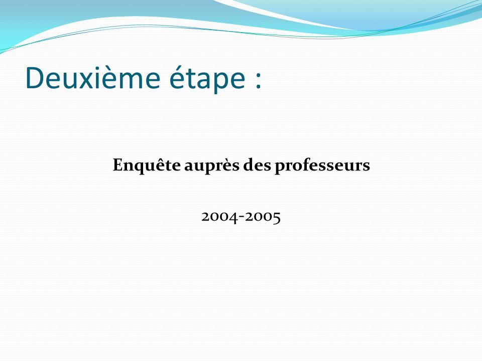 Deuxième étape : Enquête auprès des professeurs 2004-2005