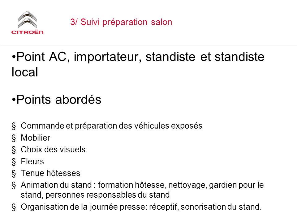3/ Suivi préparation salon Point AC, importateur, standiste et standiste local Points abordés §Commande et préparation des véhicules exposés §Mobilier