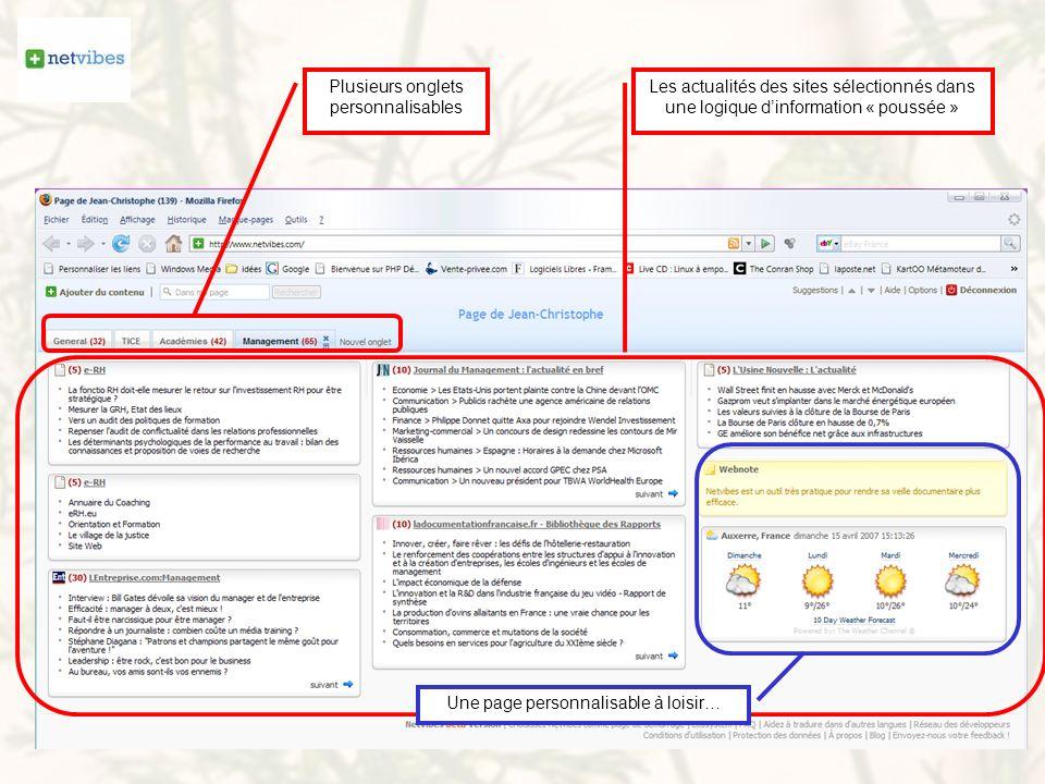 Plusieurs onglets personnalisables Les actualités des sites sélectionnés dans une logique dinformation « poussée » Une page personnalisable à loisir…