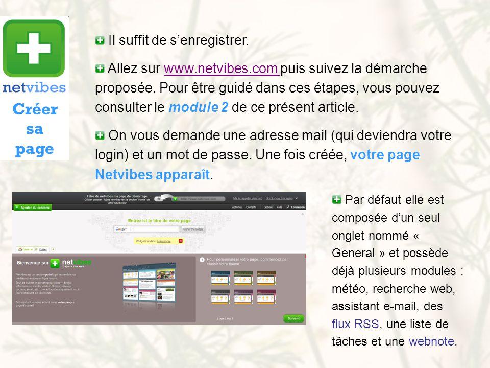 Il suffit de senregistrer. Allez sur www.netvibes.com puis suivez la démarche proposée. Pour être guidé dans ces étapes, vous pouvez consulter le modu