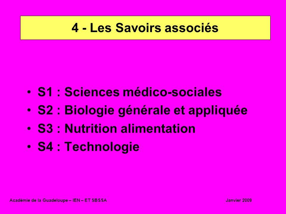 S1 : Sciences médico-sociales S2 : Biologie générale et appliquée S3 : Nutrition alimentation S4 : Technologie 4 - Les Savoirs associés Académie de la