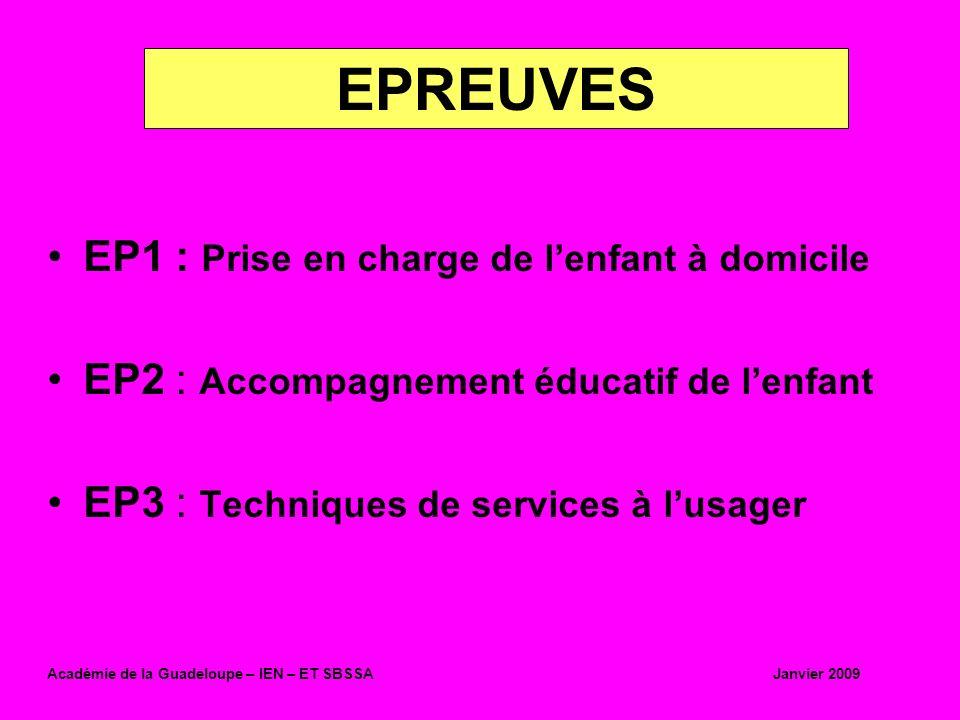 EP1 : Prise en charge de lenfant à domicile EP2 : Accompagnement éducatif de lenfant EP3 : Techniques de services à lusager EPREUVES Académie de la Gu