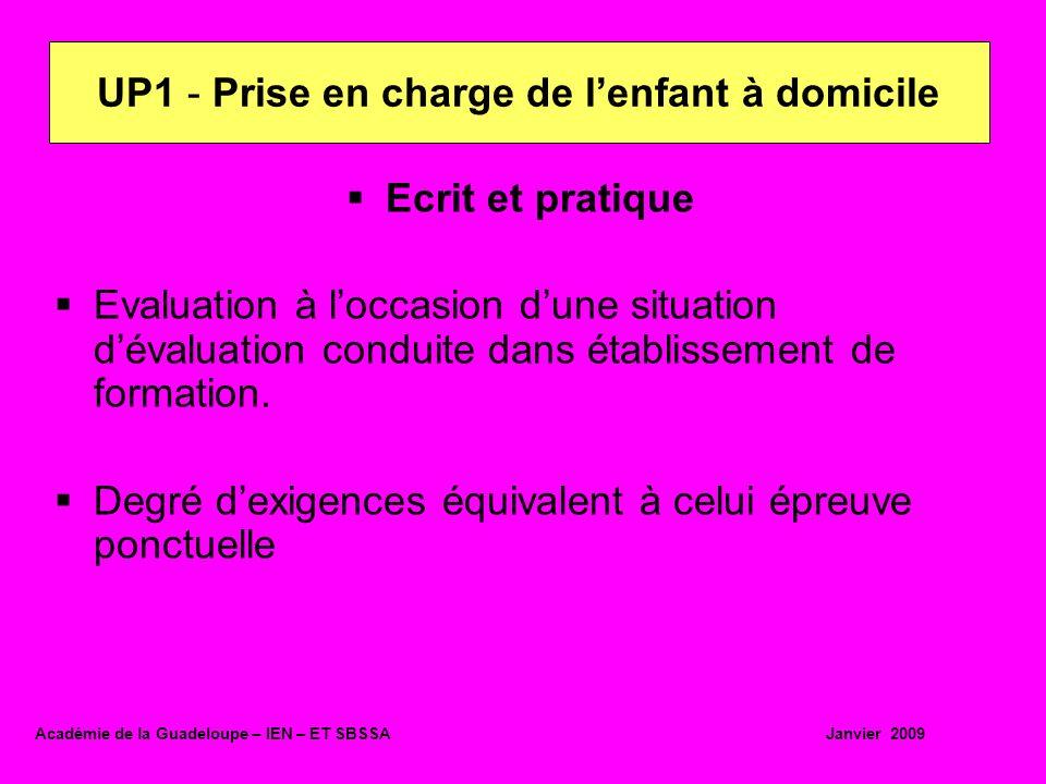 Ecrit et pratique Evaluation à loccasion dune situation dévaluation conduite dans établissement de formation. Degré dexigences équivalent à celui épre
