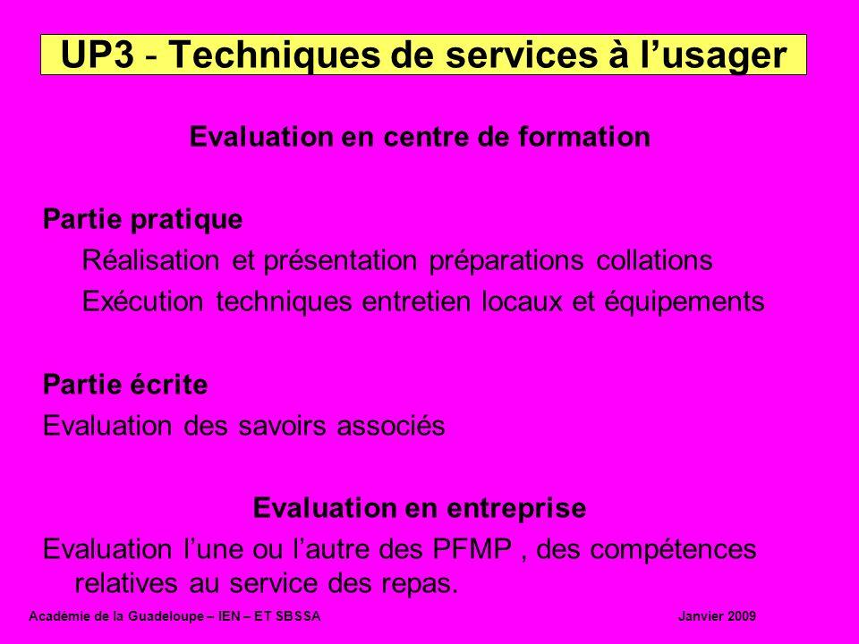 Evaluation en centre de formation Partie pratique Réalisation et présentation préparations collations Exécution techniques entretien locaux et équipem