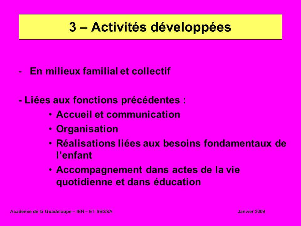-En milieux familial et collectif - Liées aux fonctions précédentes : Accueil et communication Organisation Réalisations liées aux besoins fondamentau