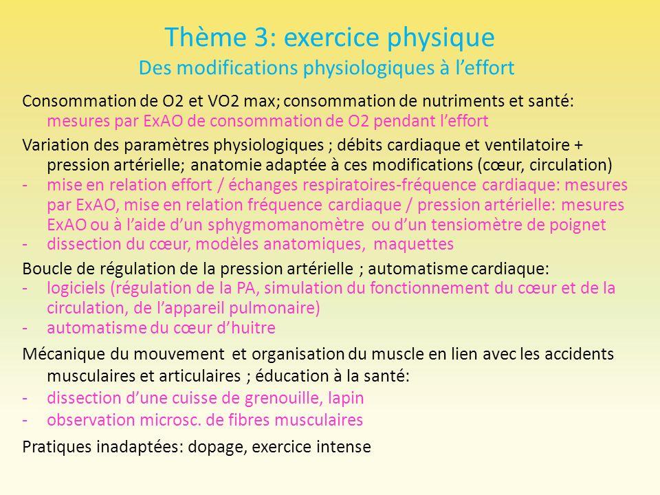 Thème 3: exercice physique Des modifications physiologiques à leffort Consommation de O2 et VO2 max; consommation de nutriments et santé: mesures par