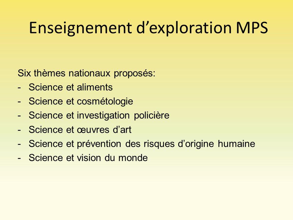 Enseignement dexploration MPS Six thèmes nationaux proposés: -Science et aliments -Science et cosmétologie -Science et investigation policière -Scienc