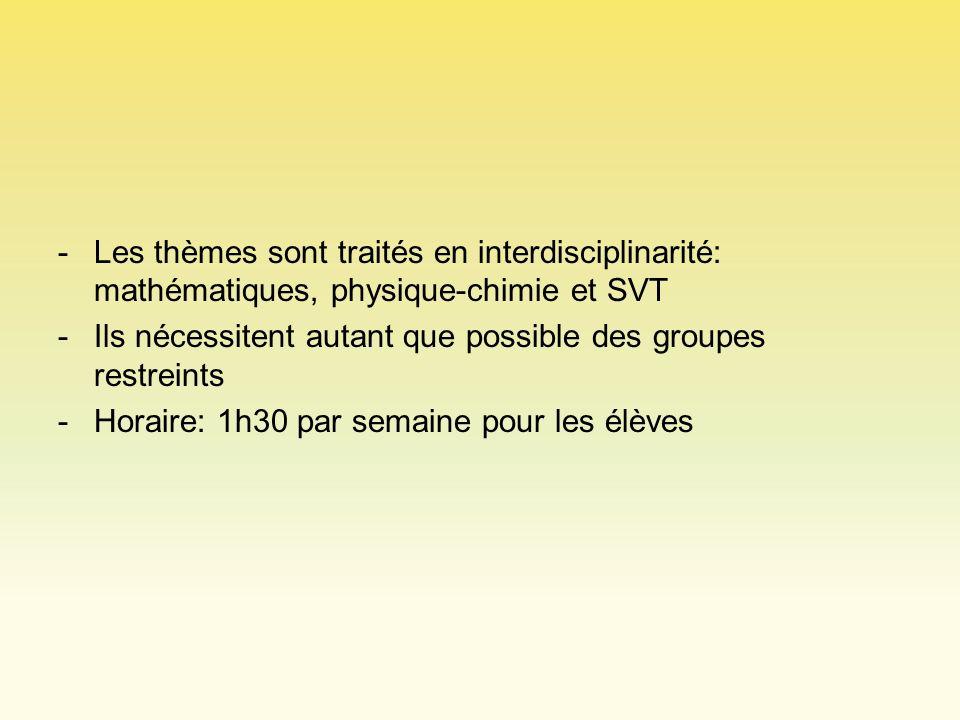 -Les thèmes sont traités en interdisciplinarité: mathématiques, physique-chimie et SVT -Ils nécessitent autant que possible des groupes restreints -Ho