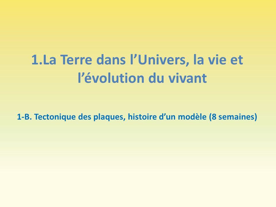 1.La Terre dans lUnivers, la vie et lévolution du vivant 1-B. Tectonique des plaques, histoire dun modèle (8 semaines)
