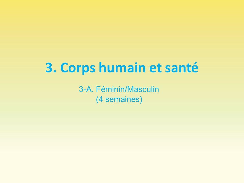 3. Corps humain et santé 3-A. Féminin/Masculin (4 semaines)