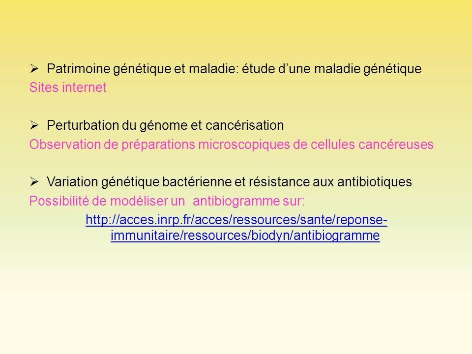 Patrimoine génétique et maladie: étude dune maladie génétique Sites internet Perturbation du génome et cancérisation Observation de préparations micro