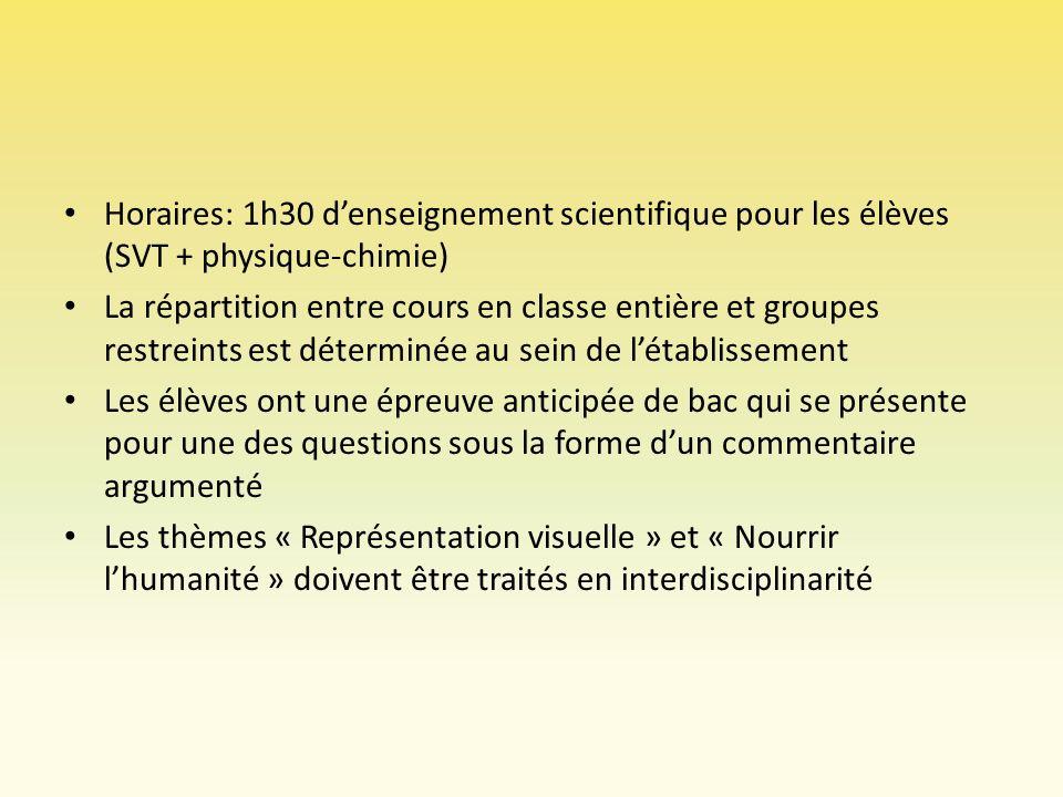 Horaires: 1h30 denseignement scientifique pour les élèves (SVT + physique-chimie) La répartition entre cours en classe entière et groupes restreints e