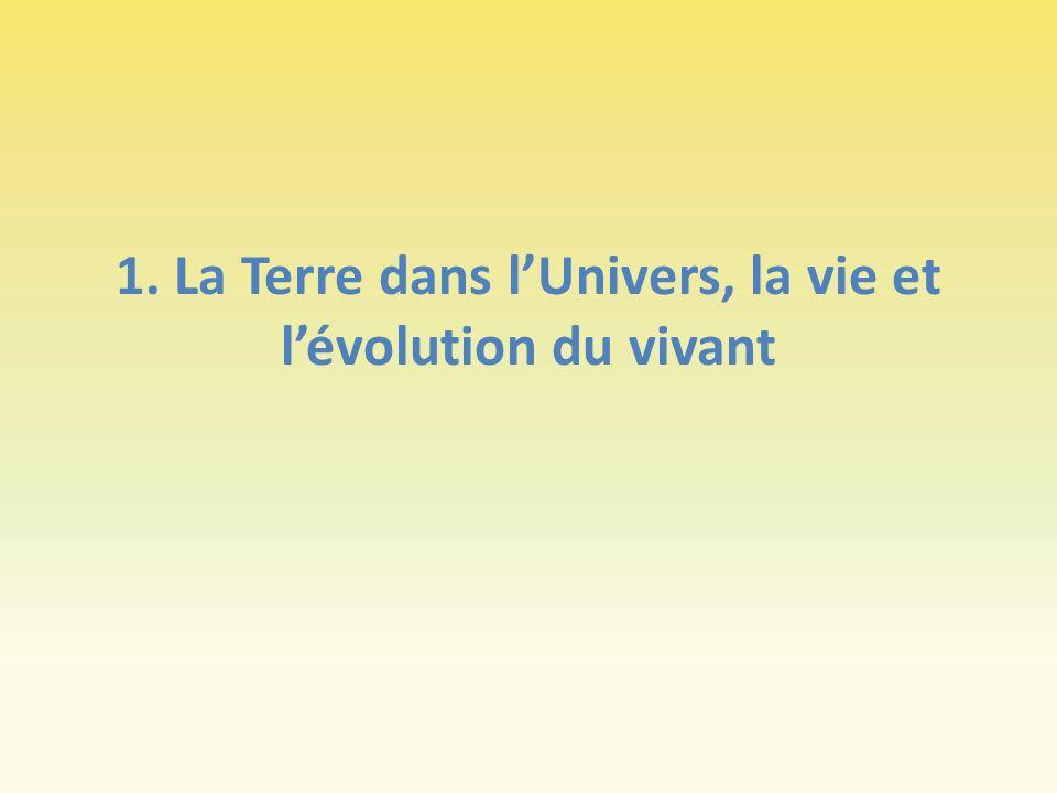 1. La Terre dans lUnivers, la vie et lévolution du vivant