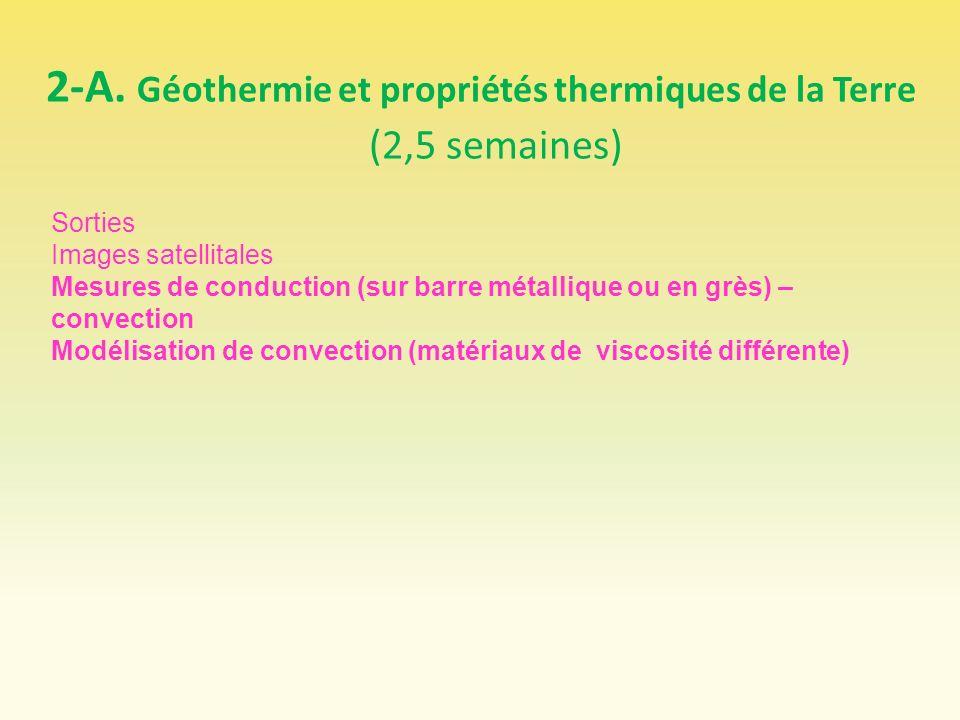 2-A. Géothermie et propriétés thermiques de la Terre (2,5 semaines) Sorties Images satellitales Mesures de conduction (sur barre métallique ou en grès