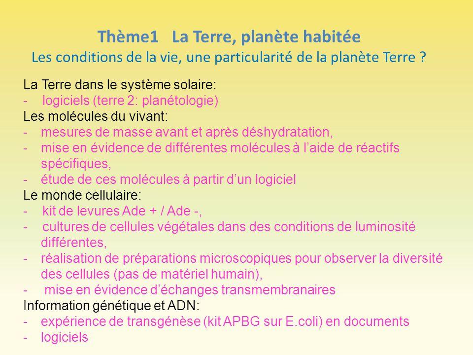 Thème1 La Terre, planète habitée Les conditions de la vie, une particularité de la planète Terre ? La Terre dans le système solaire: - logiciels (terr
