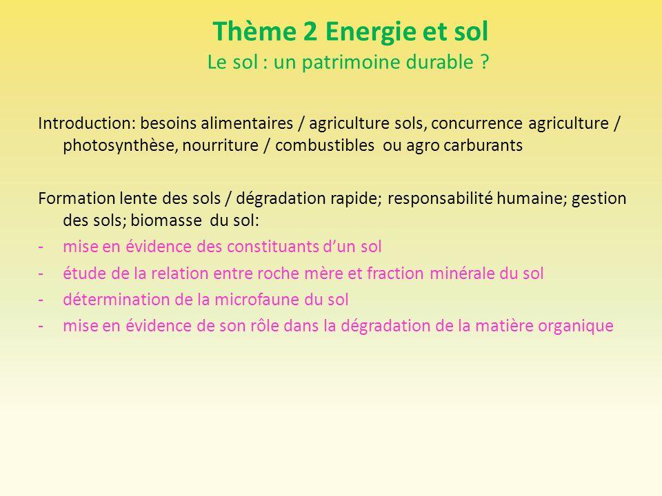 Thème 2 Energie et sol Le sol : un patrimoine durable ? Introduction: besoins alimentaires / agriculture sols, concurrence agriculture / photosynthèse