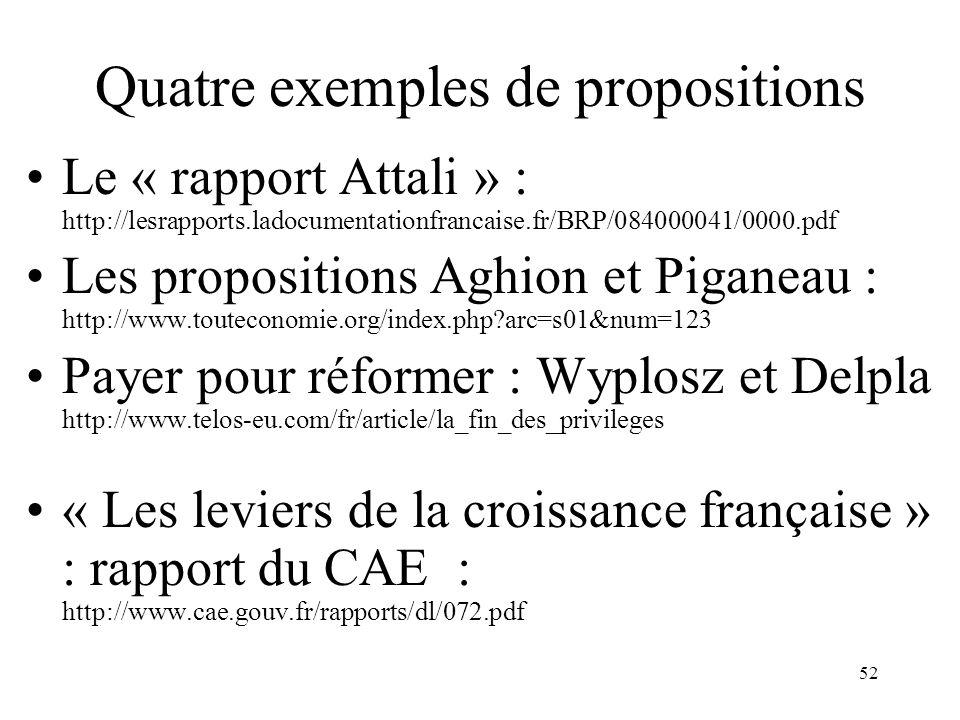 52 Quatre exemples de propositions Le « rapport Attali » : http://lesrapports.ladocumentationfrancaise.fr/BRP/084000041/0000.pdf Les propositions Aghi