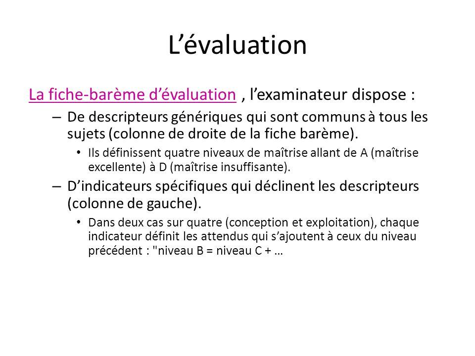 Lévaluation La fiche-barème dévaluation, lexaminateur dispose : – De descripteurs génériques qui sont communs à tous les sujets (colonne de droite de