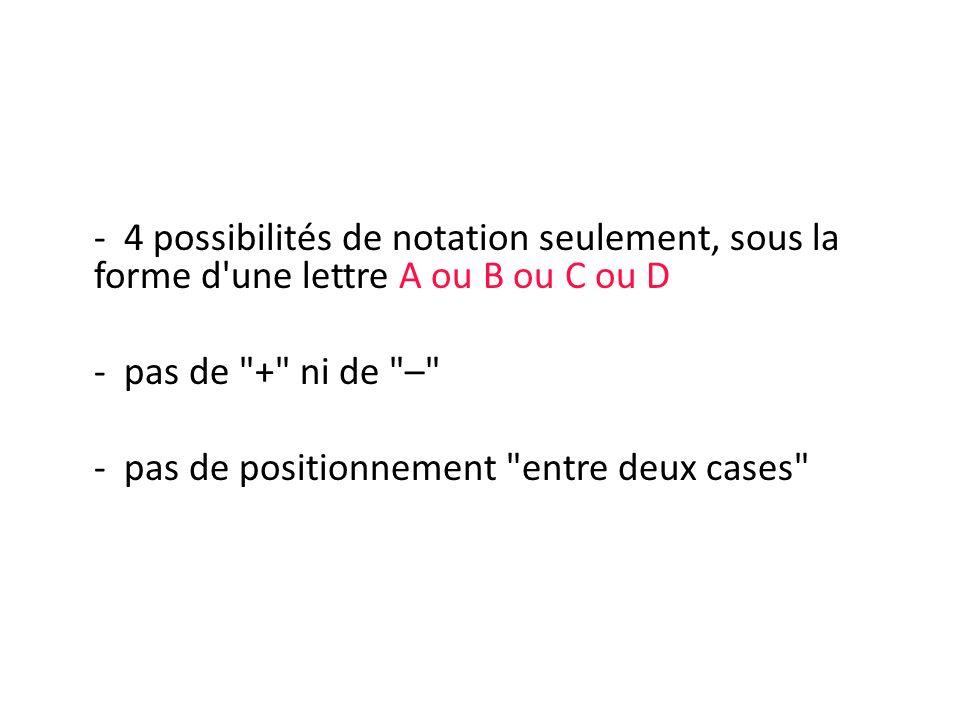 - 4 possibilités de notation seulement, sous la forme d'une lettre A ou B ou C ou D - pas de