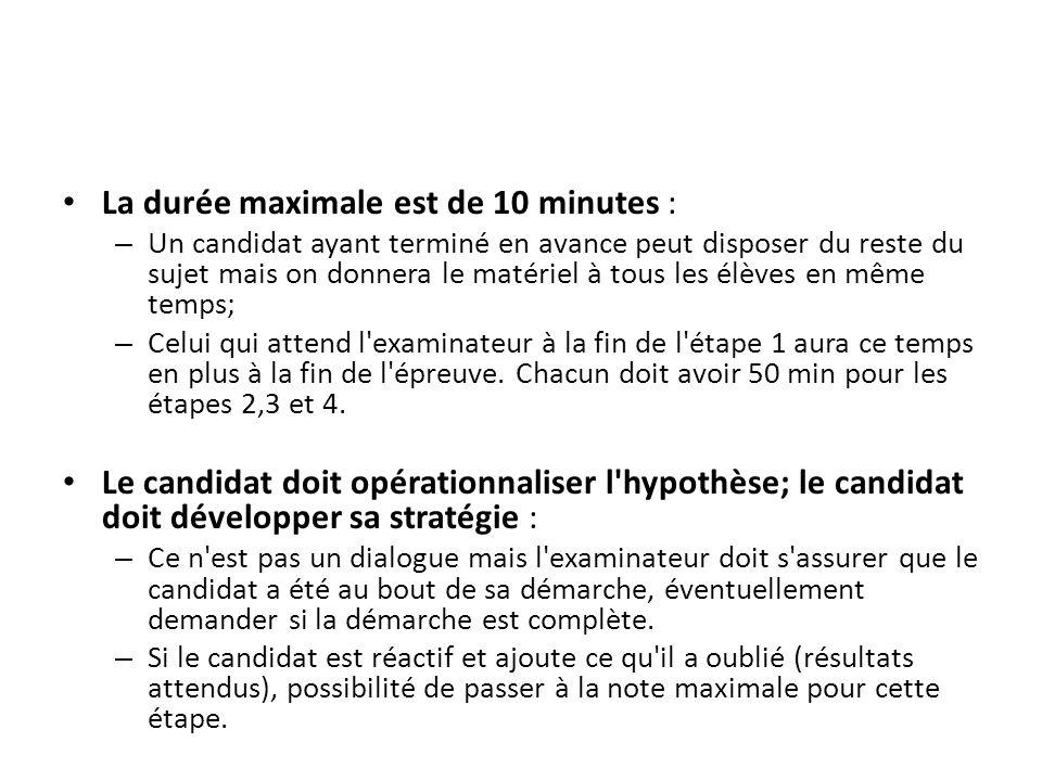 La durée maximale est de 10 minutes : – Un candidat ayant terminé en avance peut disposer du reste du sujet mais on donnera le matériel à tous les élè