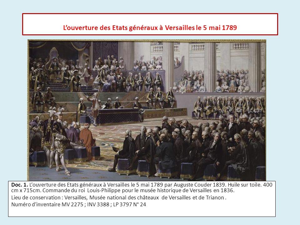 Doc. 1. Louverture des Etats généraux à Versailles le 5 mai 1789 par Auguste Couder 1839. Huile sur toile. 400 cm x 715cm. Commande du roi Louis-Phili