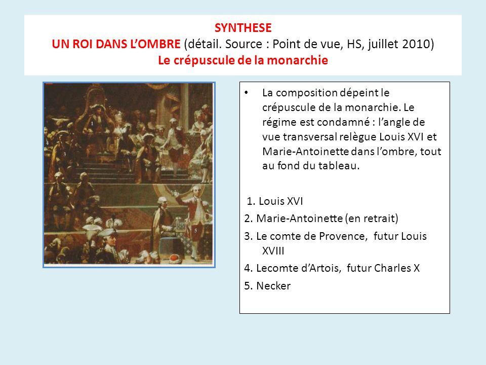 SYNTHESE UN ROI DANS LOMBRE (détail. Source : Point de vue, HS, juillet 2010) Le crépuscule de la monarchie La composition dépeint le crépuscule de la