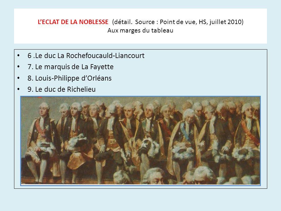 LECLAT DE LA NOBLESSE (détail. Source : Point de vue, HS, juillet 2010) Aux marges du tableau 6.Le duc La Rochefoucauld-Liancourt 7. Le marquis de La