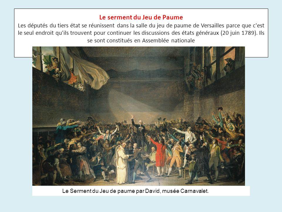 Le serment du Jeu de Paume Les députés du tiers état se réunissent dans la salle du jeu de paume de Versailles parce que c'est le seul endroit qu'ils